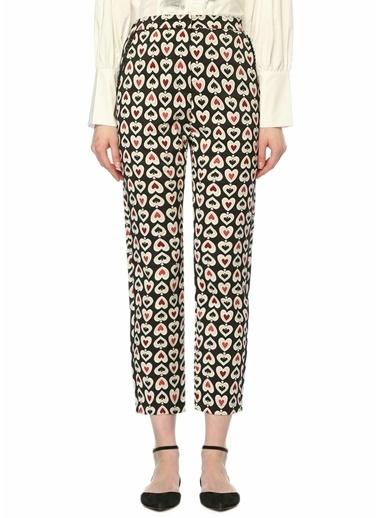 Sister Jane Yüksek Bel Desenli Boru Paça Pantolon Siyah
